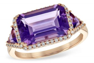 Amethyst Ring with triangle amethyst on each side of center all surrounded by round accenting G SI1/SI2 diamonds totaling .22ct, amethysts totaling 3.48ct 14k rose gold