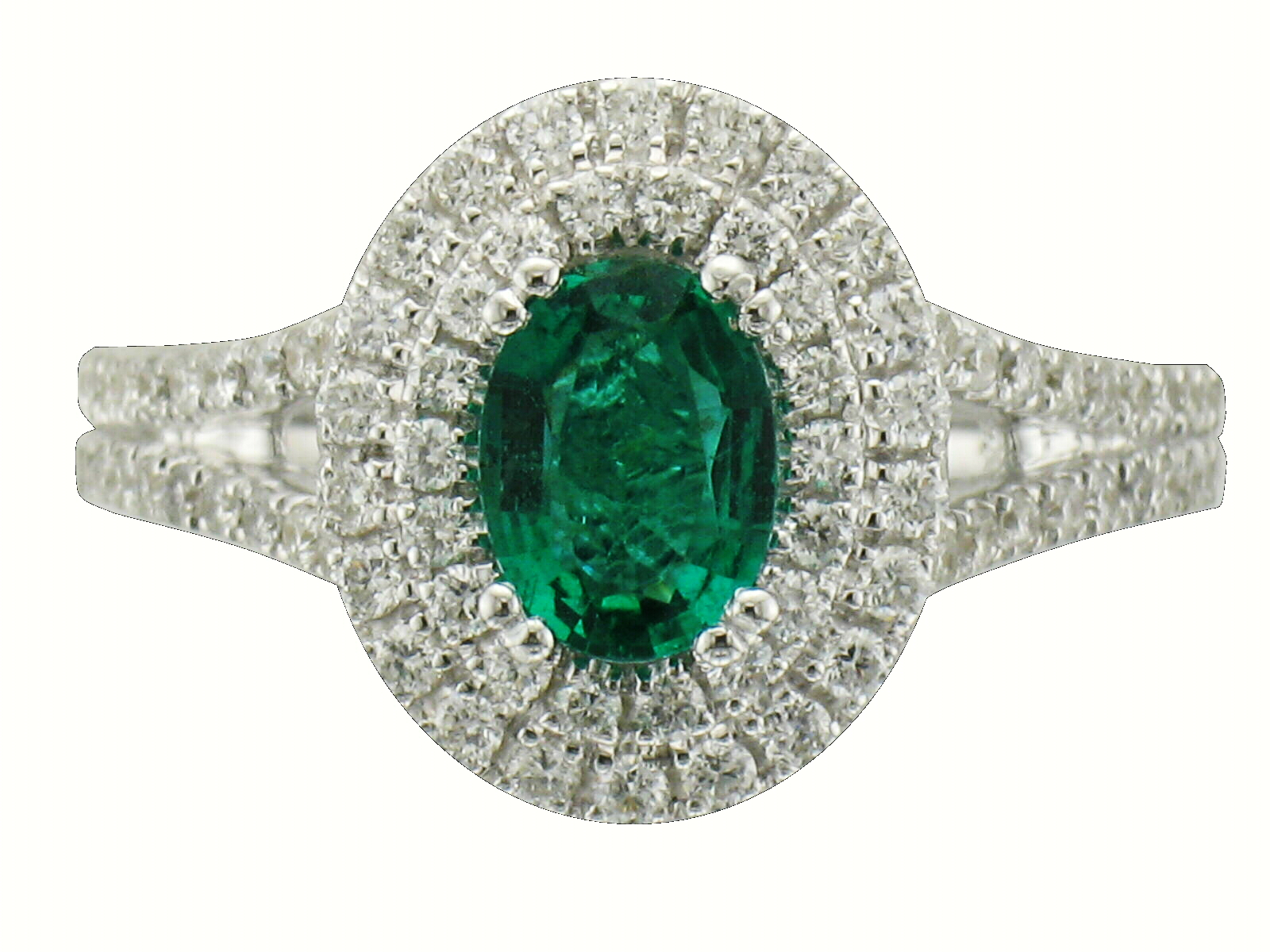 gold cut white ring graduated side stone emerald in engagement with stones diamond