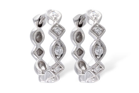 14k White Gold Diamond Hoop Earrings with .22ct Diamonds GH SI1