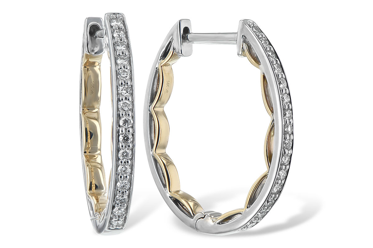 .25ct Diamond two tone hoop earrings with round accenting diamonds set around front of outside with scalloped yellow gold look on the inside, 14k two tone, HI Color, I1 Clarity