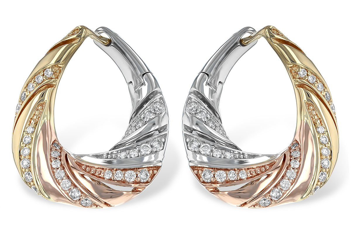 14k Rose, White and Yellow gold hoop style earrings with curved rows of 64 diamonds set throughout, diamonds totaling .50ct, H SI3