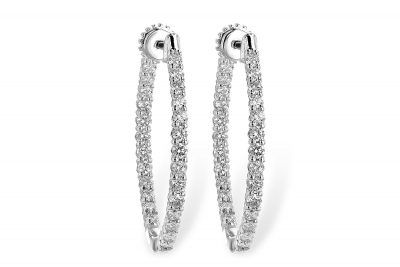 1.50ct Diamond Hoop earrings with round diamonds set up the front of the hoop and inside the back of the hoop, 14k white gold, diamonds G I1