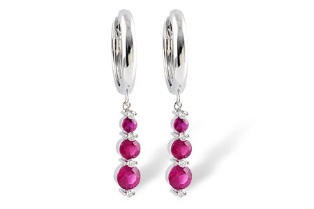Drop triple ruby earrings graduating in size with accenting round diamond between each, rubies totaling 1.12ct, diamonds totaling .10ct, 14k white gold