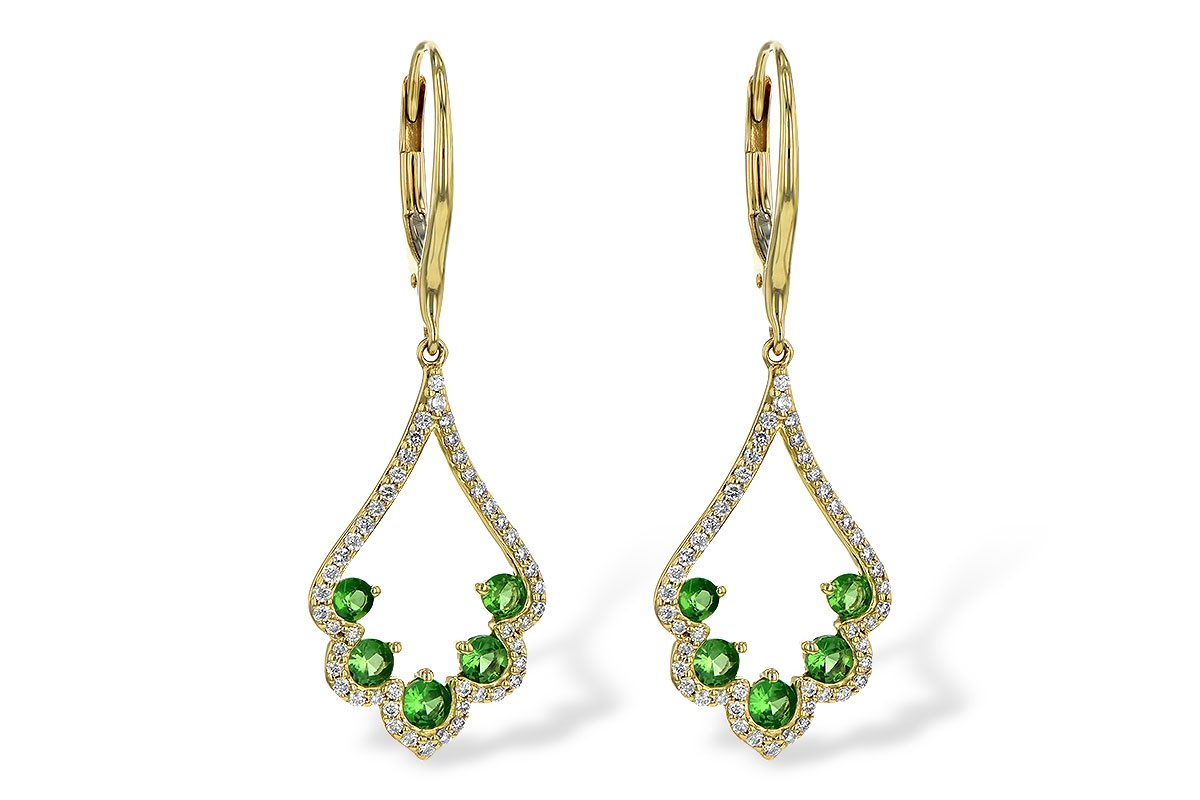 Drop Scalloped design Tsavorite and diamond earrings with 5 round tsavorite in each earring and round accenting diamonds lining the earrings, tsavorites totaling .64ct and diamonds totaling .34ct, diamonds G SI2, 14k yellow gold