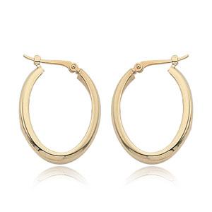 14k Yellow Gold Small High Polish Oval Hoop Earrings