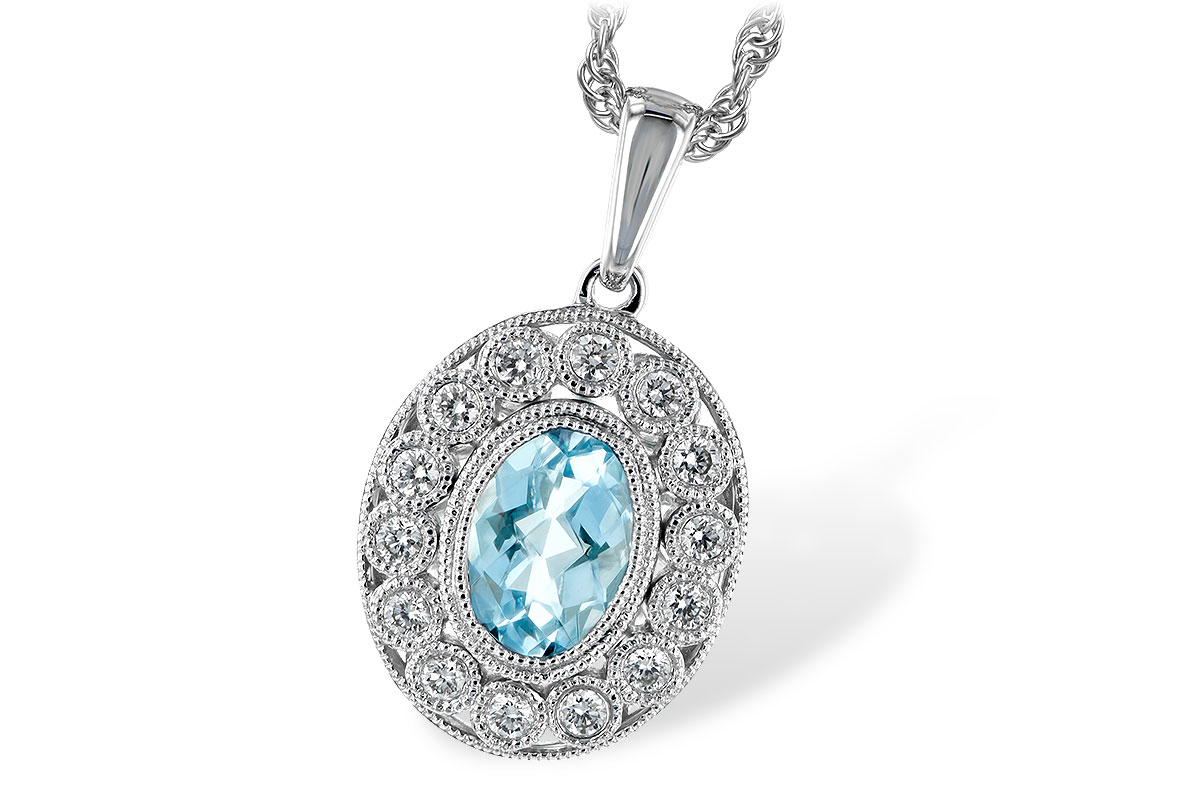 Oval .62ct Aquamarine pendant with 12 round accenting bezel set diamonds surrounding the center with milgrain edging, diamonds totaling .14ct GH SI2, 14k white gold 18 inch rope chain with lobster clasp