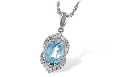 Oval 1.40ct Aquamarine pendant bezel set with milgrain edging and point of round accenting diamonds on top and bottom of stone, diamonds totaling .14ct G SI1/SI2 on 14k white gold 18 inch rope chain with lobster clasp