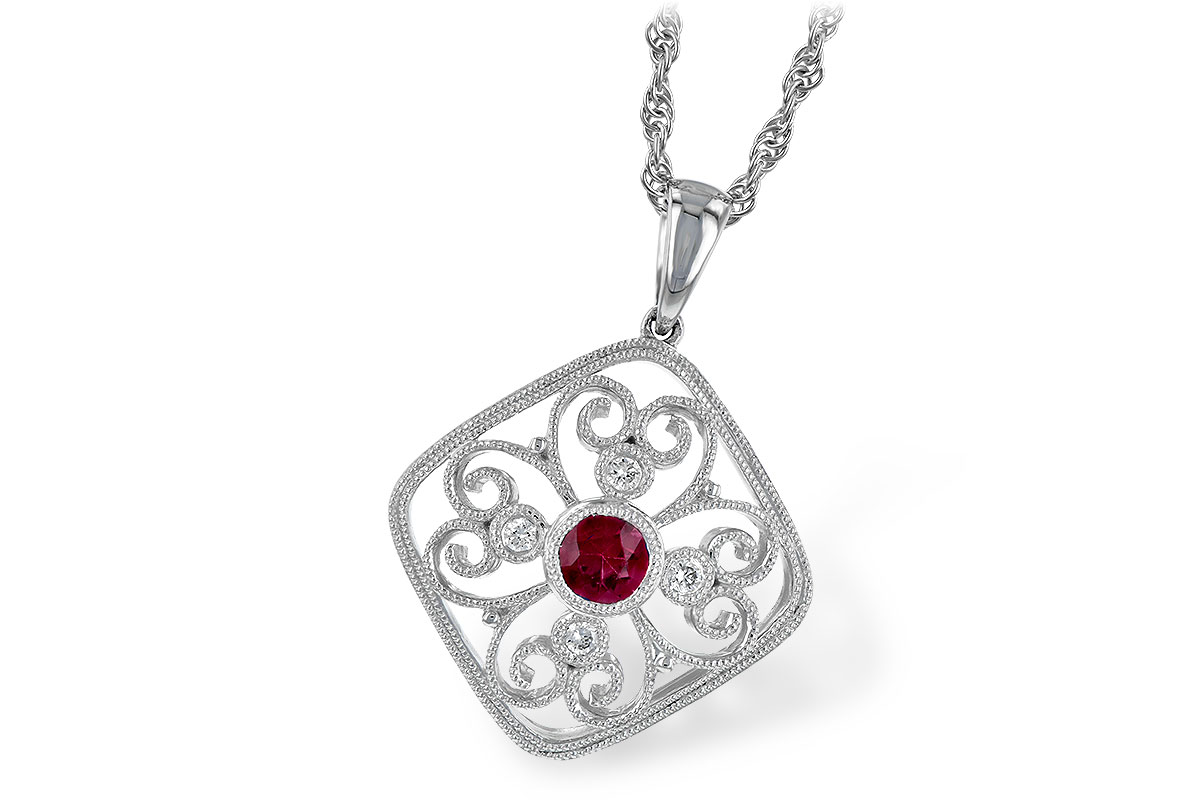 Floral Vintage Pendant with round .28ct ruby in the center of curls of milgrain edging gold and 4 round diamonds set into curls totaling .06ct G SI1/2, 14k white gold