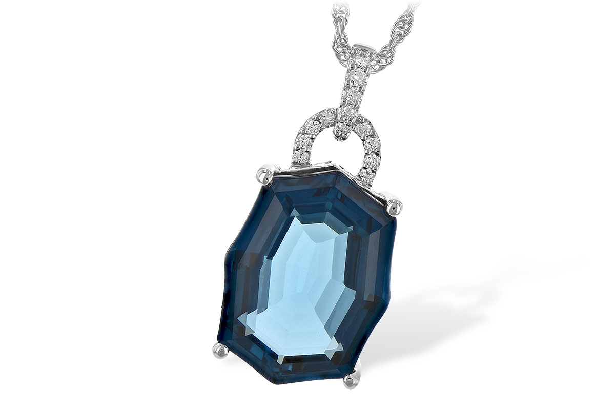 Fancy Shape 11.75ct Londong Blue Topaz pendant with open loop of accenting diamonds above with accenting diamond lined bale, all diamonds totaling .10ct, G SI1/SI2 on 18 inch 14k white gold rope chain with lobster clasp