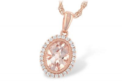 Oval Morganite pendant with 1.01ct Morganite surrounded by halo of round accenting diamonds totaling .13ct, all G SI1/Si2, 14k rose