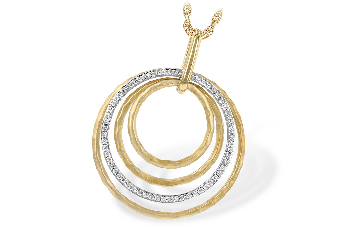 Quadruple open circle pendant, three circles 14k yellow gold hammer finish and one circle lined with round accenting G SI1/SI2 Diamonds totaling .22ct in 14k white gold on 18 inch 14k yellow rope chain with lobster clasp