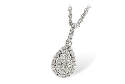 14k Diamond cluster pendant set into pear shape, diamonds totaling .43ct and all G SI1, 18 inch chain, all white gold