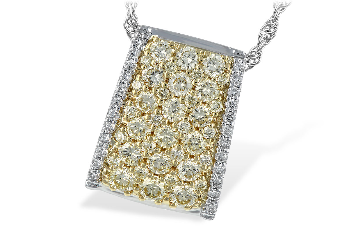 ave style bowed rectangular shape pendant with .95ct fancy yellow Diamonds set throughout the center in 14k yellow gold and row of GH SI2 diamonds set down the sides in 14k white gold totaling .14ct, on 14k white gold chain with lobster clasp