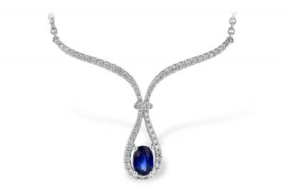 Necklace with Diamond trim in the center, at the center of the diamond line trim is an oval .58ct blue Sapphire, G SI1/SI2 diamonds totaling .32ct, 14k white gold