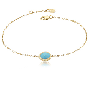 Horizontal 8x6mm oval Cabochon turquoise in rope style bezel on cable link chain, 14k yellow gold, 7-7.5 inches