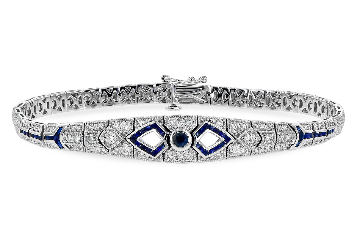 Vintage style bracelet with 1.24ct Blue Sapphires set throughout and 1.76ct Round accenting G SI3 diamonds set throughout, tongue and groove clasp, all 14k white gold