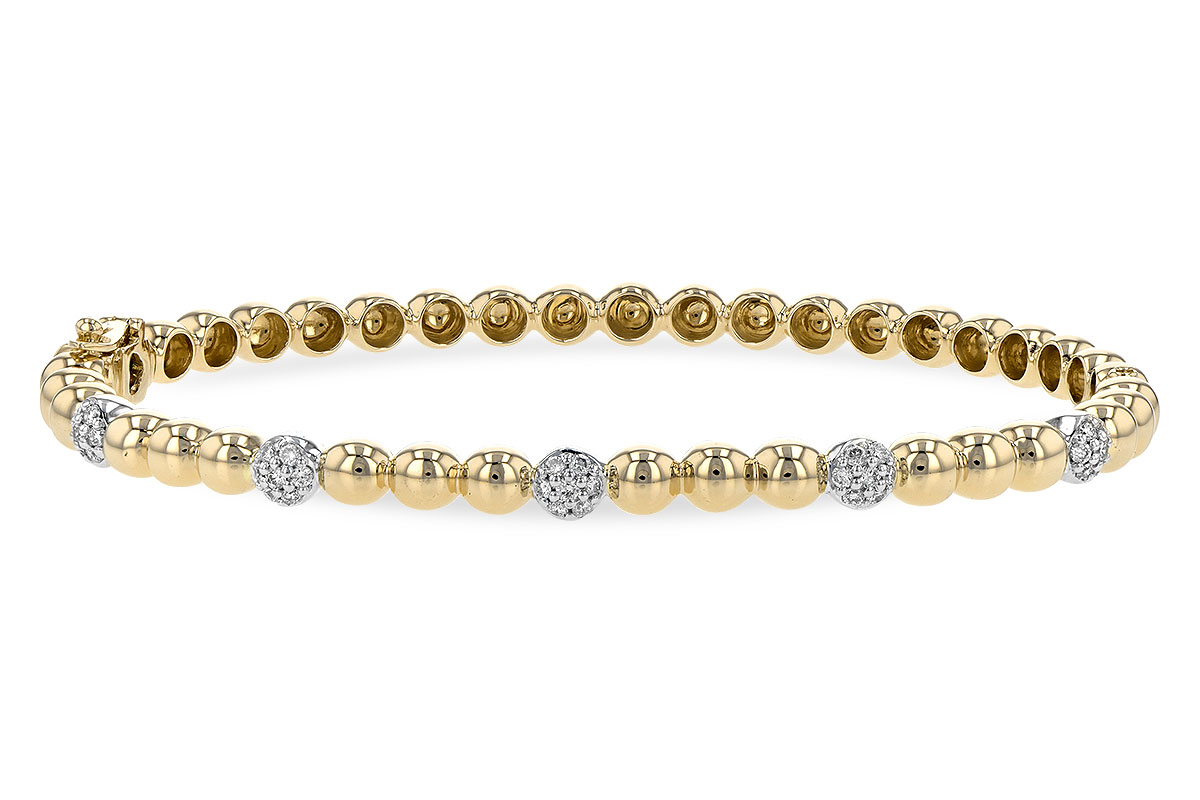 14k yellow gold bangle style Bracelet with round accenting pave set diamonds set into 14k white gold spaced out into 14k yellow gold beaded style bracelet, diamonds totaling .27ct G Color, SI1/SI2 Clarity