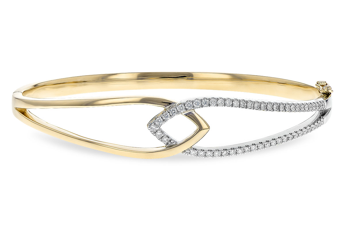 Bangle style bracelet with pointed high polish yellow gold loop interlocking with diamond lined white gold pointed loop, 51 diamonds totaling .50ct, G SI2/SI2, 14k
