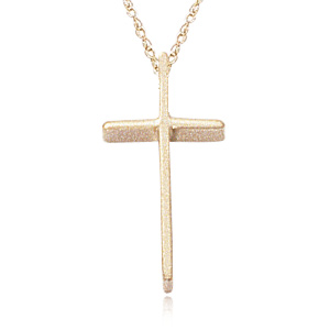 Small wedged 14.7 x 8 millimeter Cross on 18 inch chain, stock in 14k yellow gold. Special ordered in 14k white gold.