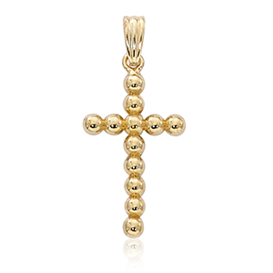 Beaded cross pendant, 14k yellow gold high polish