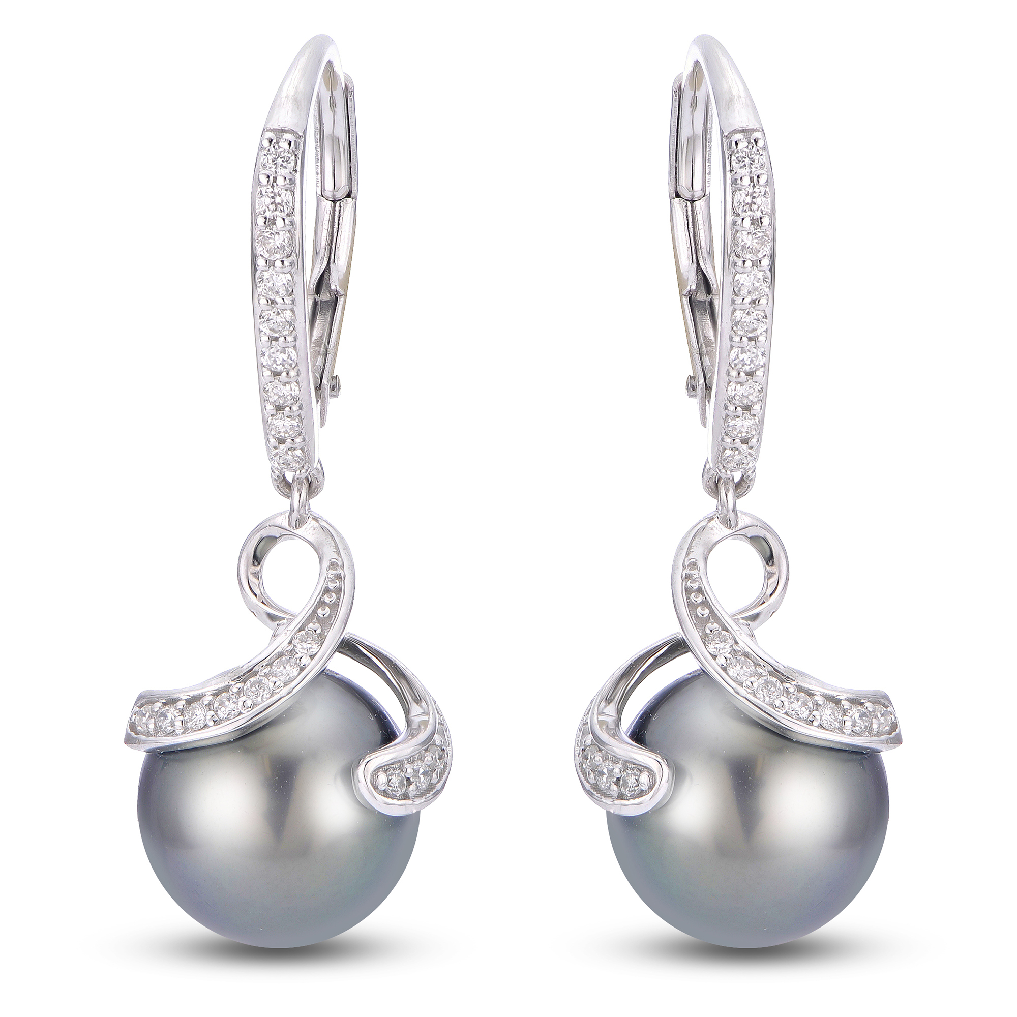 14k White Gold Tahitian Pearl Earrings