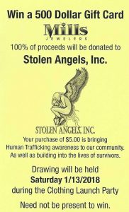 $500 Mills Jewelers Gift Card Raffle benefiting Stolen Angels- human trafficking awareness