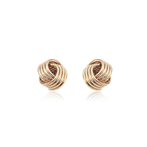 Interlocking coils post earrings, 14k yellow gold