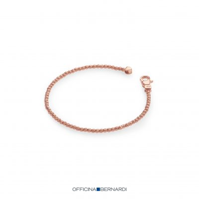 2.5mm diamond cut round beaded bracelet, sterling silver with 18k rose gold overlay, Officina Bernardi, 7 inches