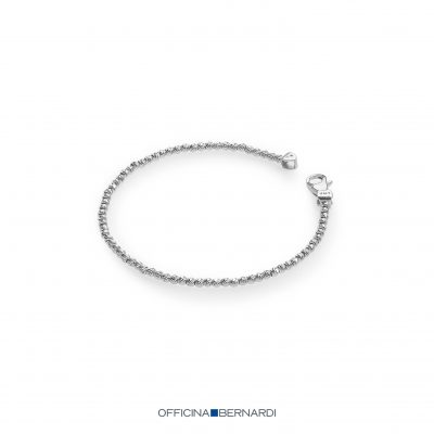 7 inch row of 2.5mm diamond cut beads, sterling silver with rhodium bracelet