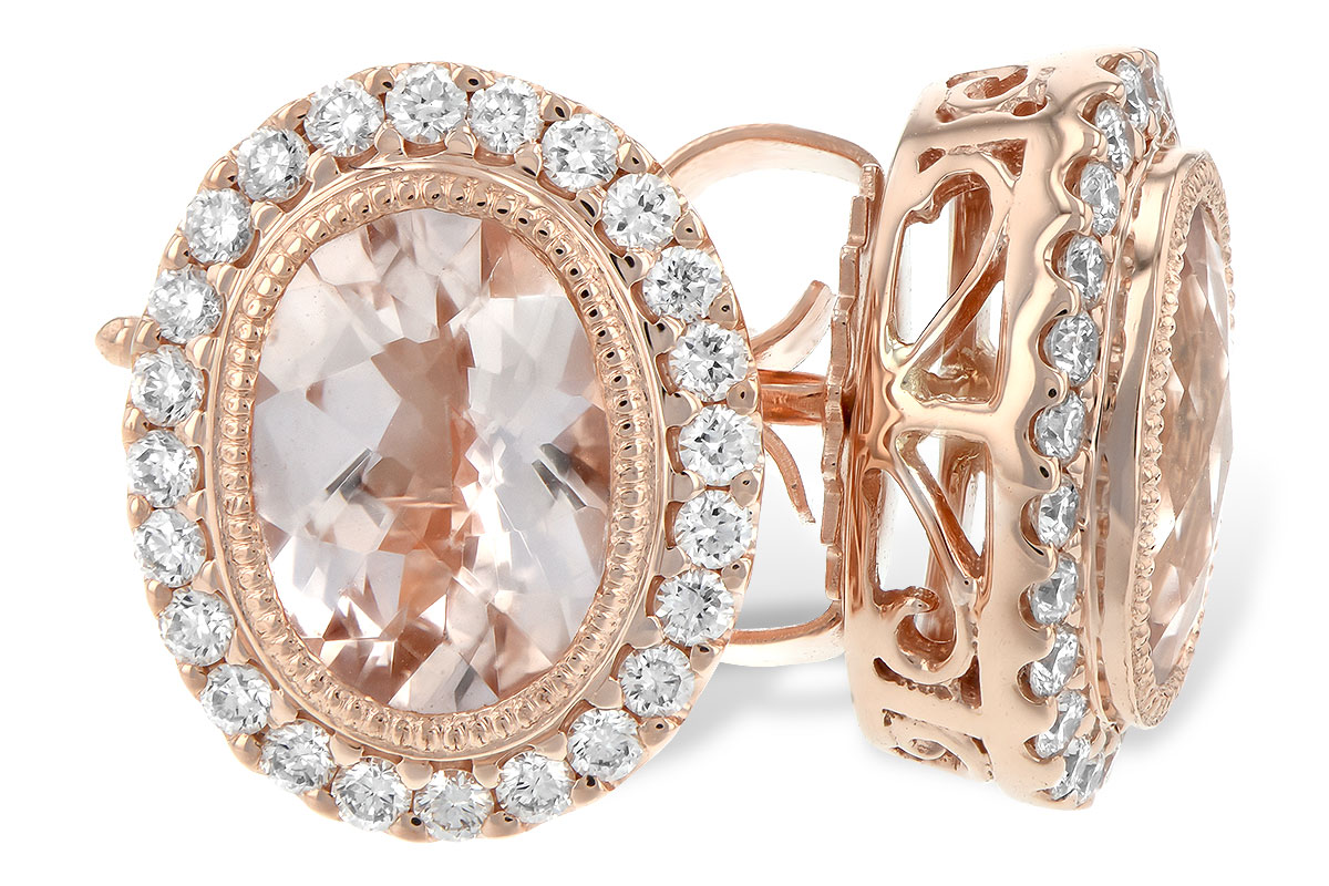 Oval Morganite with 24 diamond halo set in 14k rose gold vintage style post earrings