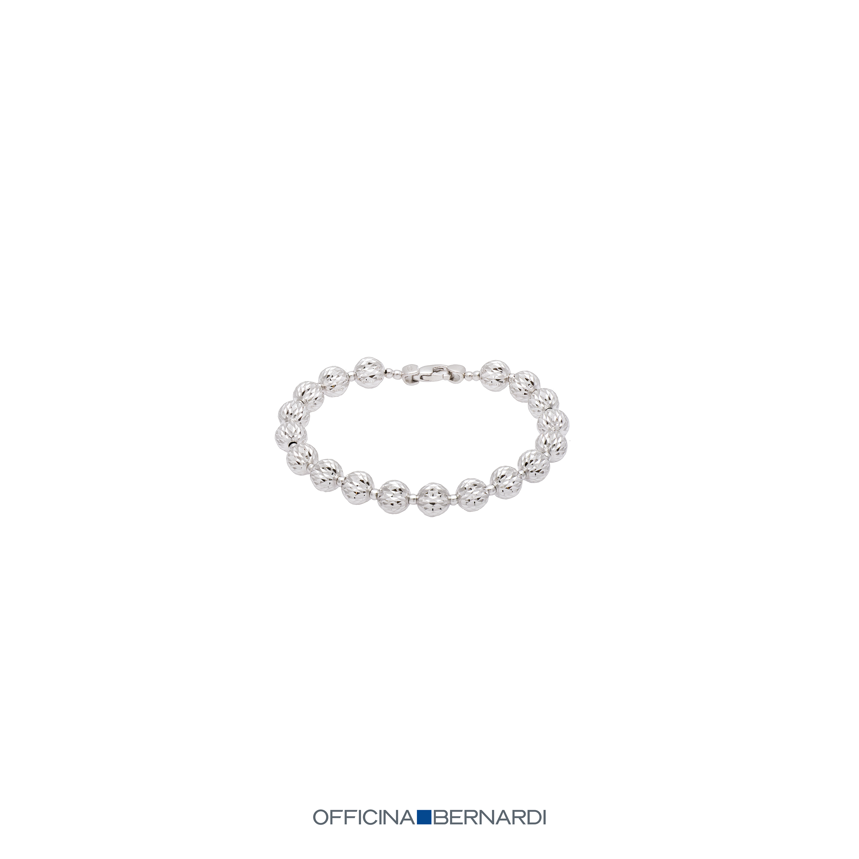 8mm diamond cut beaded bracelet, 7 inches, sterling silver with platinum overlay