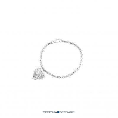 Diamond cut beaded heart charm bracelet, sterling silver