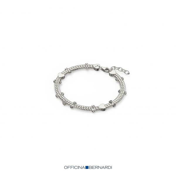 Cupido Colleciton bracelet with Heart accents, Officina Bernardi, sterling silver with Rhodium plate