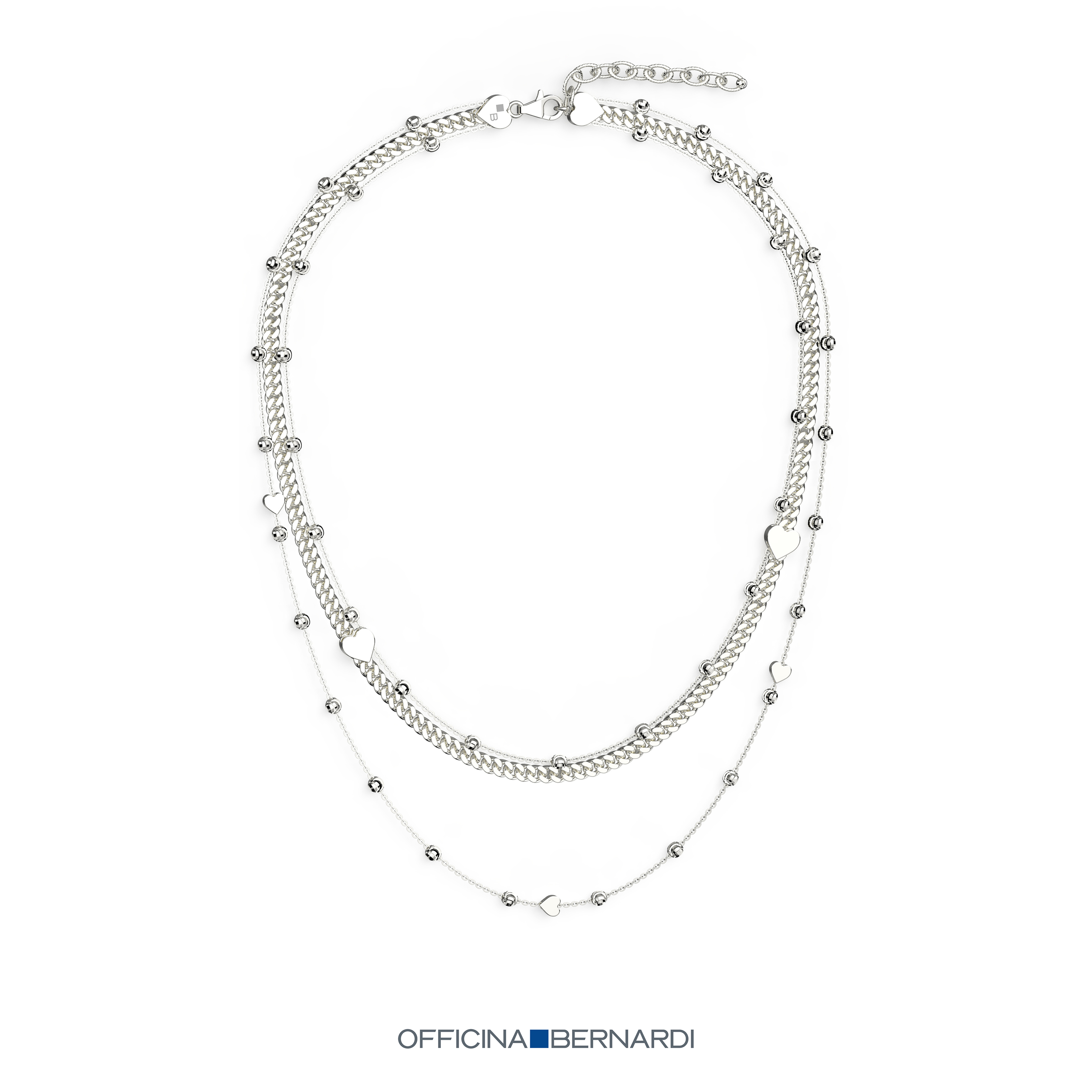 Double Layered heart and diamond cut beaded accented necklace, sterling silver with rhodium plate