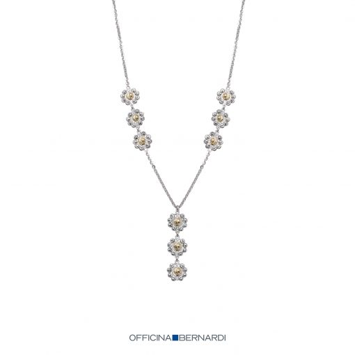Daisy Collection Y-style necklace with diamond cut beads, sterling sivler with 18k yellow gold overlaid onto center of the flowers, 16 inches