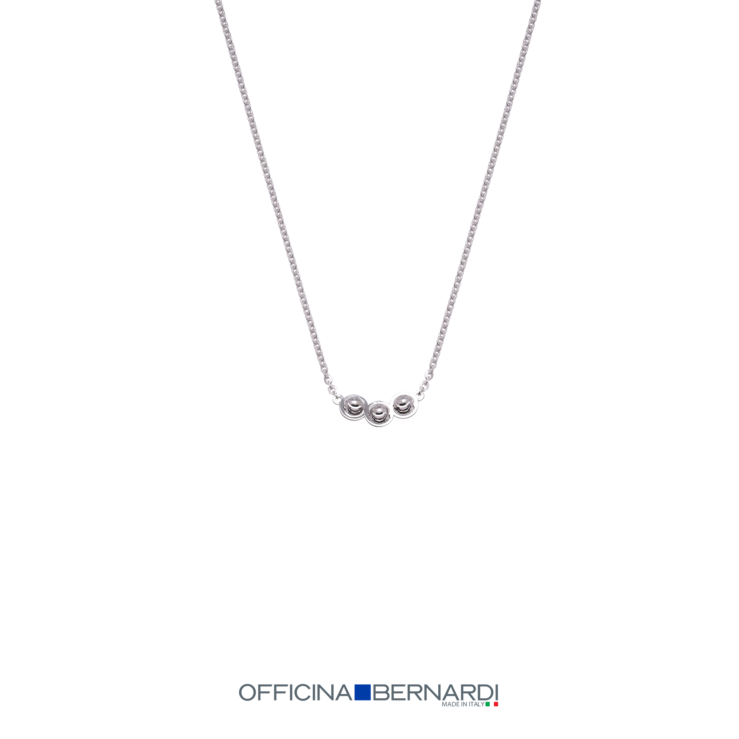 Three Diamond cut beads stationed in center of cable chain necklace, sterling silver Officina Bernardi, 16 inches