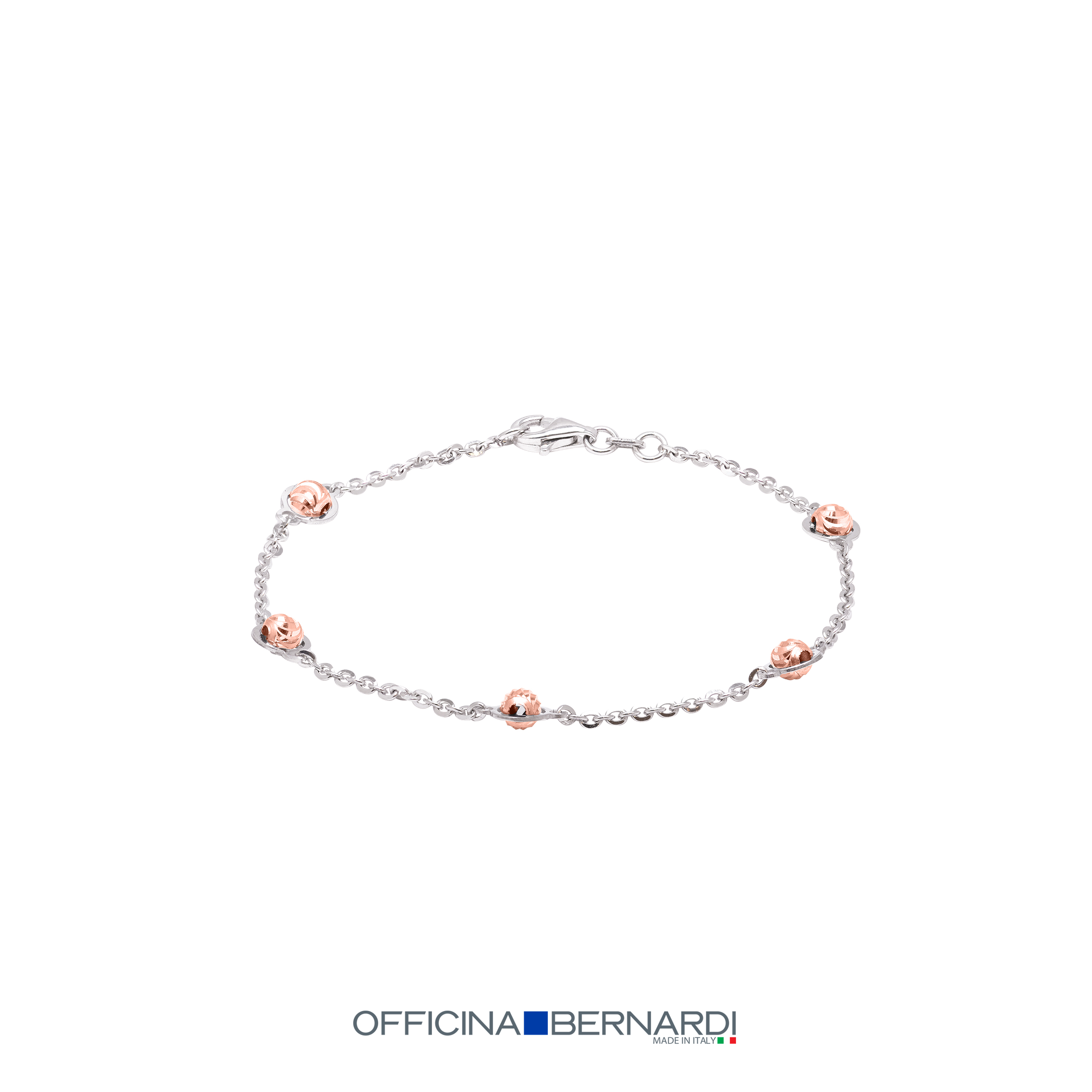 Station style bracelet cable style with rhodium with 4mm diamond cut beads with 18k rose gold overlay, Officina Bernardi, 7 inches