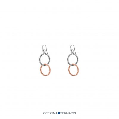 Open Circle interlocking diamond cut beaded dangle earrings, sterling silver beads and 18k rose gold overlay beads, Eurowire dangle