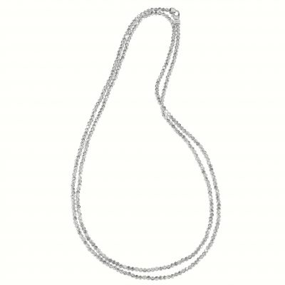 18 inch adjustable length 2.5mm diamond cut beaded necklace, sterling silver with rhodium, Officina Bernardi
