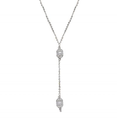 Y style necklace with 2 freshwater pearls with diamond cut bead caps, sterling silver with rhodium cable style, Officina Bernardi - Horizon Collection