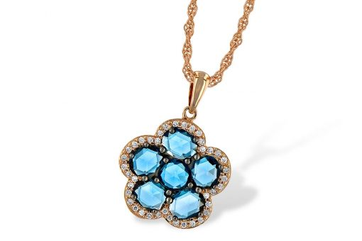 Flower London blue topaz pendant with 6 rose cut london blue topaz set into flower shape and surrounded by round accenting diamonds totaling .15ct, GH SI2, 14k rose gold, 18 inch rope chain with lobster clasp
