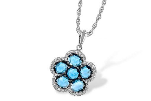 14k White Gold Pendant with Six rose cut London blue topaz gems are set into flower shape framed in diamonds Brilliant round accenting diamonds total .15 carat, G-H in color and SI2 in clarity. Comes on an 18 inch rope chain with lobster clasp.