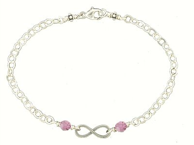 Infinity Forever bracelet with October Pink Swarovski birthstone on either side of infinity, sterling silver with trigger clasp