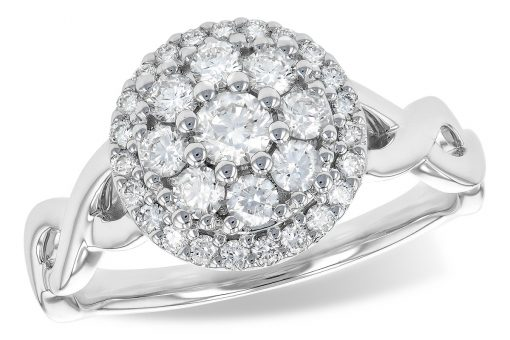 Round diamond cluster ring with .70 carat total diamonds. Clarity grade is SI2 and color grade is bight white G-H. The diamonds are set in a round 14k white gold cluster with a braided style band. Cluster measures 11 millimeters in diameter. The braided shank is available in contrasting 14k all White gold.