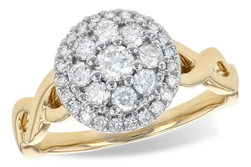 Round diamond cluster ring with .70ct GH SI2 diamonds set into the center of 14k white gold and braided style 14k yellow gold band