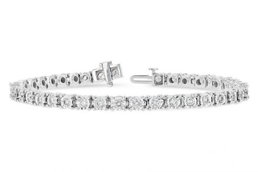 2.0ct Diamond line bracelet with 39 round diamonds each set into illusion style heads, all GH SI2, 14k white gold with safety clasp