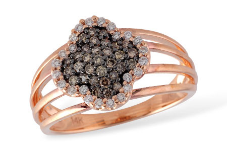 Clover Shape ring with 4 bands and pave set .26ct coco diamonds set throughout the center surrounded by .17ct P/Q color SI1/2 clarity totaling .17ct, 14k rose gold