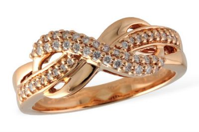 Infinity looped ring with .23ct of round accenting diamonds, G Color, SI1 Clarity, 14k rose gold