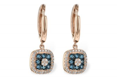 Square drop earrings with London Blue Topaz cluster in the center and round accenting diamonds around the outside, all diamonds totaling .14ct, Leverbacks, 14k rose gold