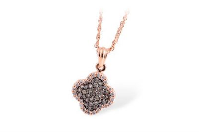 Clover Shape pendant with pave set coco diamonds set through the center totaling .26ct, outside lined with P/Q Color, SI1/2 Clarity round accenting diamonds totaling .17ct, 14k rose gold 18 inch